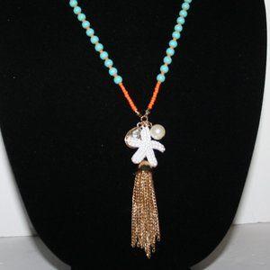 Turquoise orange gold starfish necklace